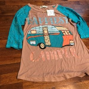 NWT Happiest Camper Tee Size S
